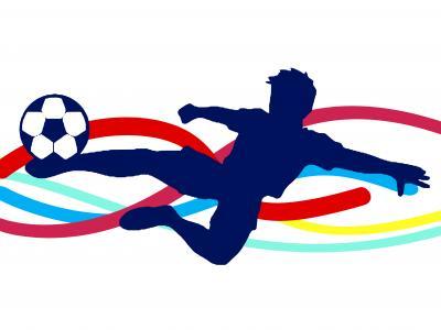 Imagem mostra arte de menino jogando futebol