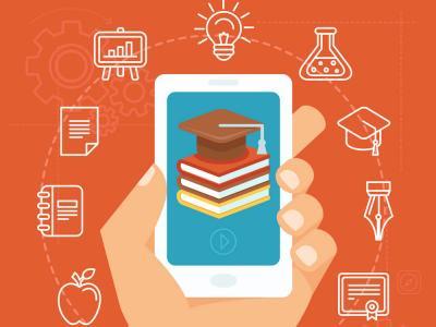 imagem mostra celular e símbolos de cursos