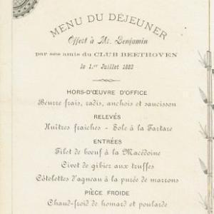 Imagem mostra cardápio do século XIX