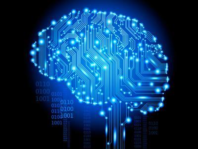 Ilustração mostra um cérebro desenhado com tema digital