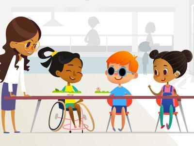 A imagem mostra três crianças sentadas conversando