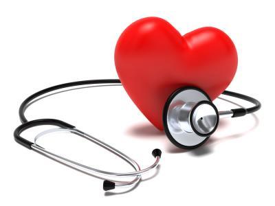 A imagem mostra um estetoscópio em um coração