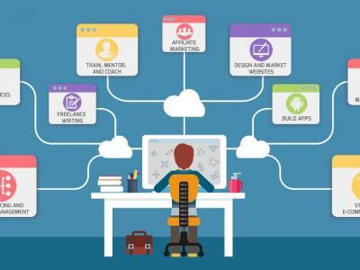 Imagem mostra arte de pessoa diante do computador