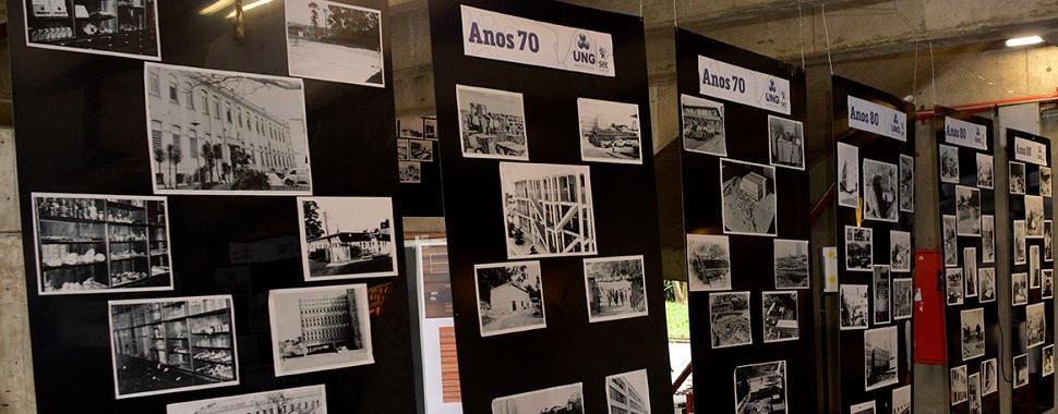Fotografias ilustraram o percurso da Universidade desde sua fundação